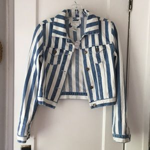 Forever21 Blue and white stripe jean jacket size S
